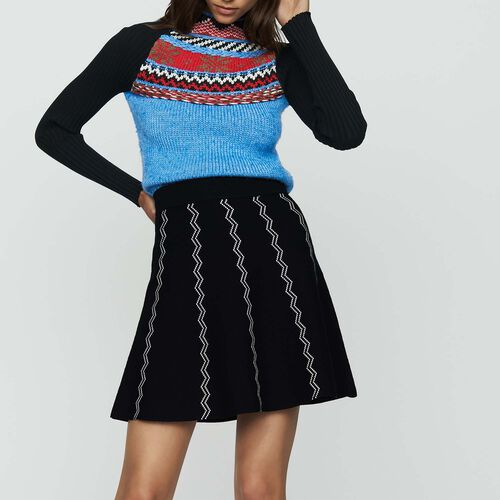 Skater jacquard knit skirt : Skirts & Shorts color Black 210