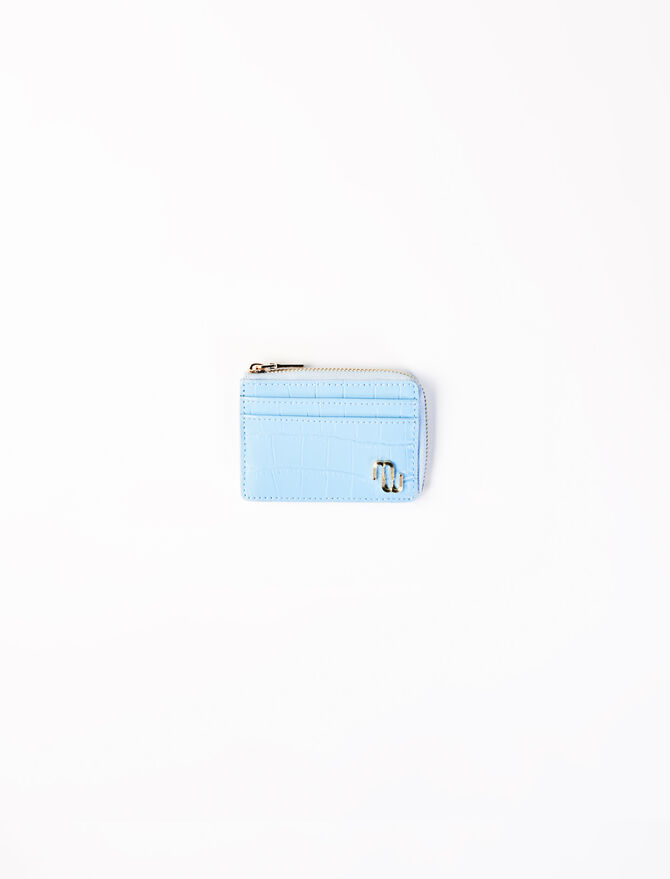 Embossed leather card holder -  - MAJE