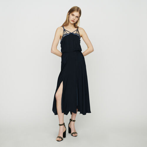 Midi dress with rhinestones : Dresses color Navy
