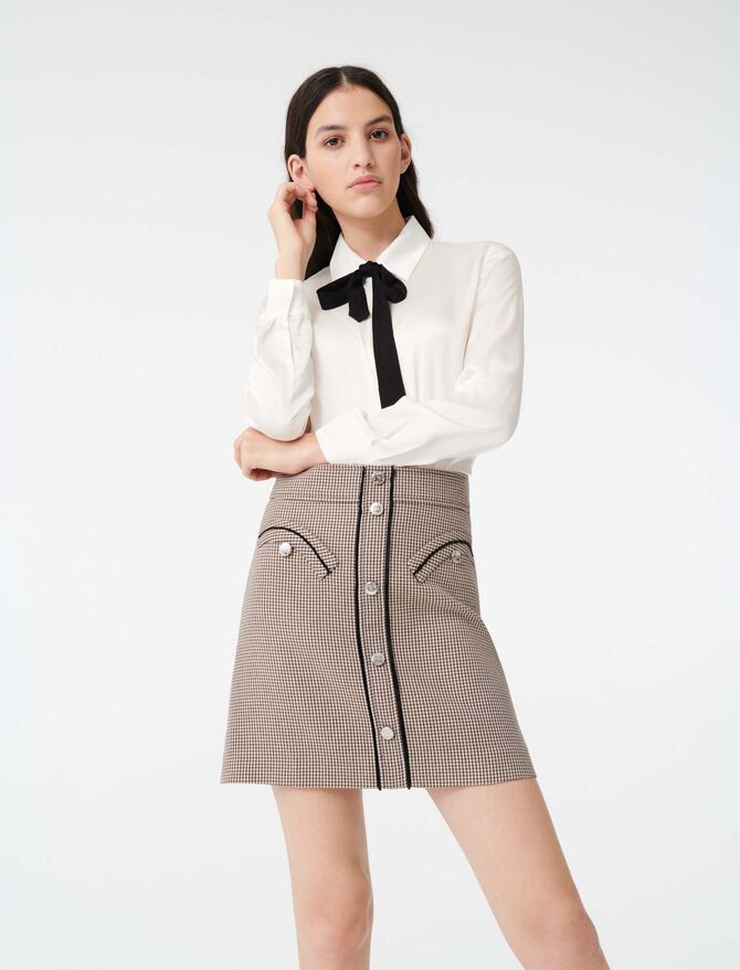 Satin shirt with contrast tie -  - MAJE