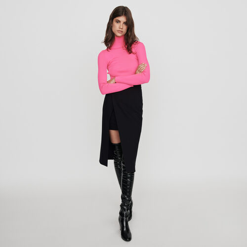 Calf-length split pencil skirt : Winter collection color Black