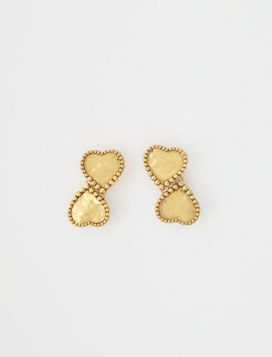 Gold-plated heart earrings : Jewelry color Old brass