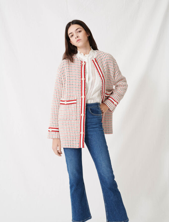 Short preppy tweed-style coat - Coats & Jackets - MAJE