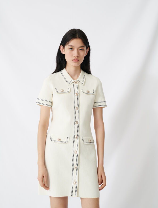 Knit dress with contrasting topstitching - Dresses - MAJE
