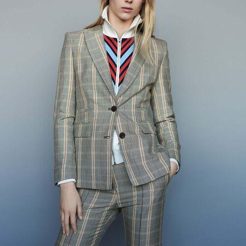 Bold shoulder jacket with check print : staff private sale color CARREAUX