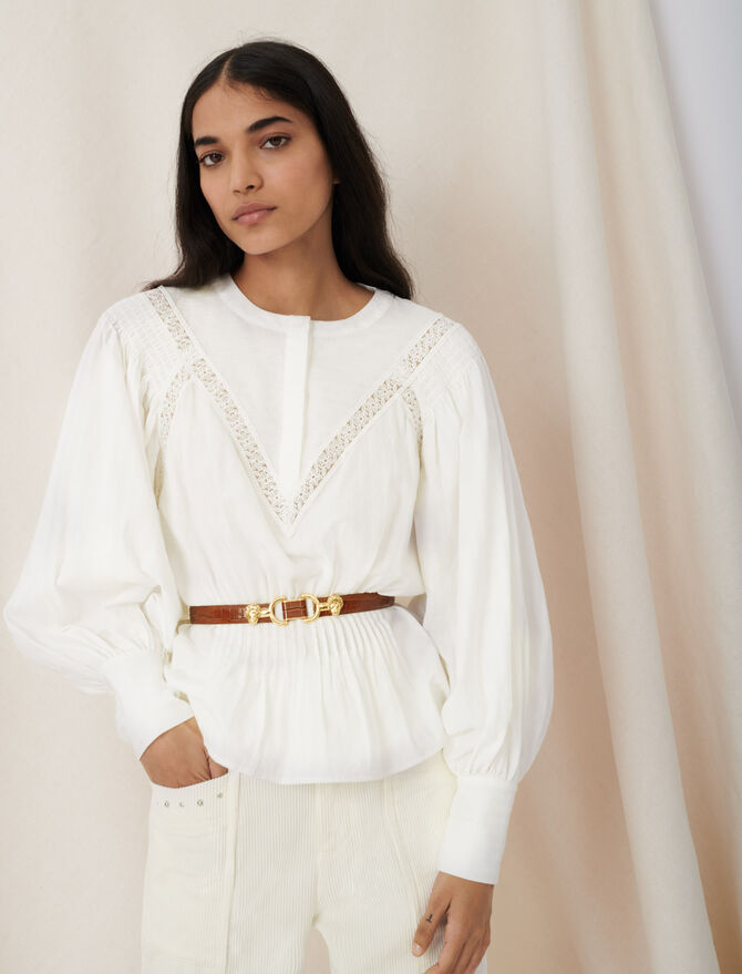 Blouse-style top with guipure braiding - Tops & Shirts - MAJE