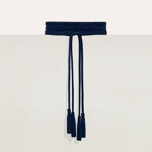 Wide suede belt : Belts color Navy