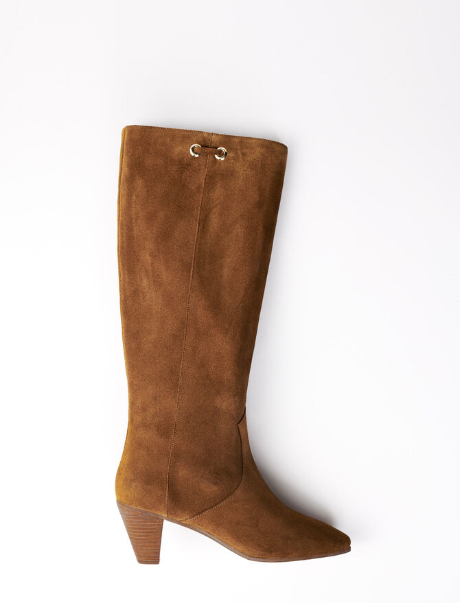 Camel suede boots - Booties & Boots - MAJE