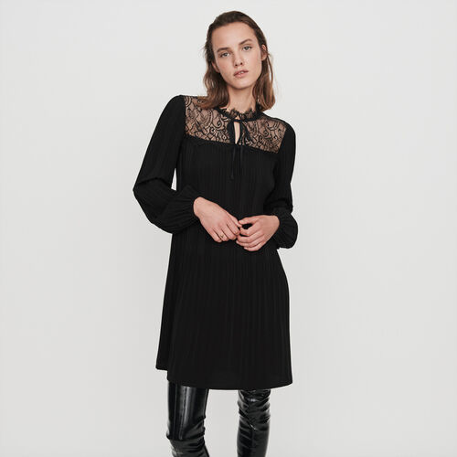 Pleated lace dress : Dresses color Black