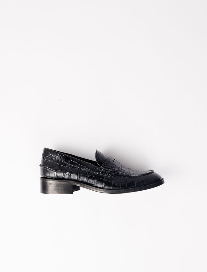 Crocodile-effect calfskin loafers -  - MAJE
