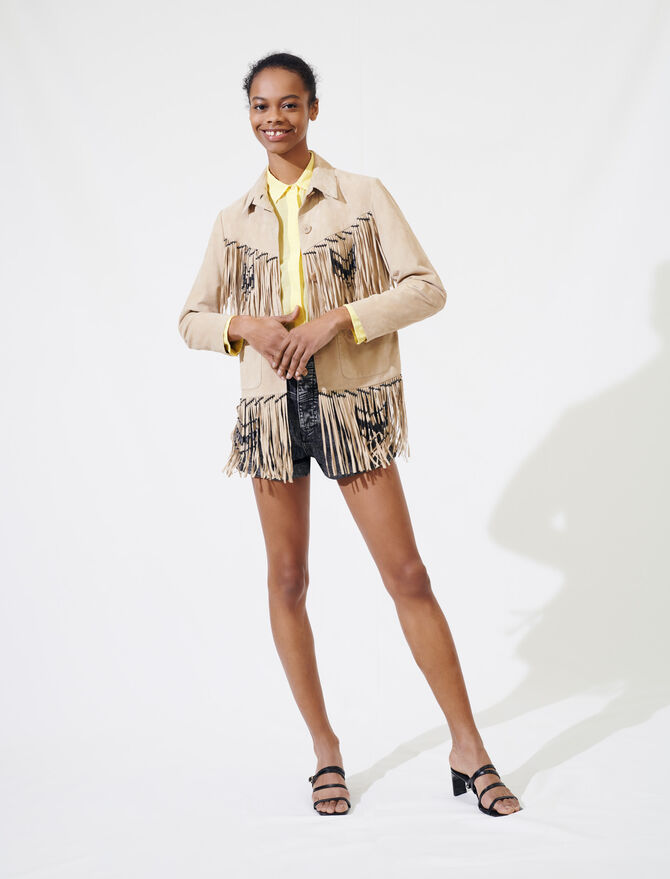 Fringed suede jacket - All the collection - MAJE