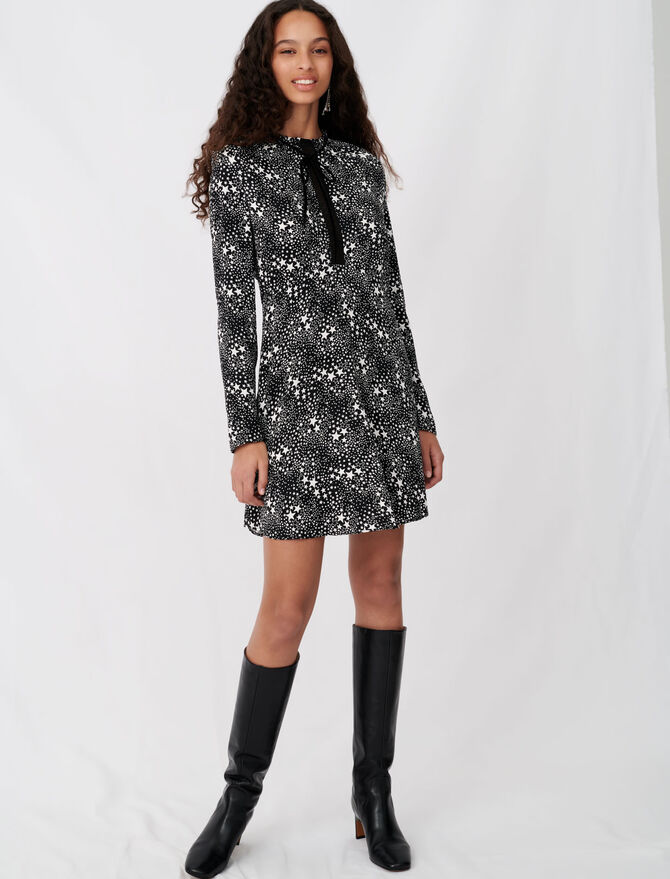 Printed jacquard and lace dress - Dresses - MAJE