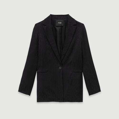 Loose-fit satin jacquard jacket : Blazers color Black