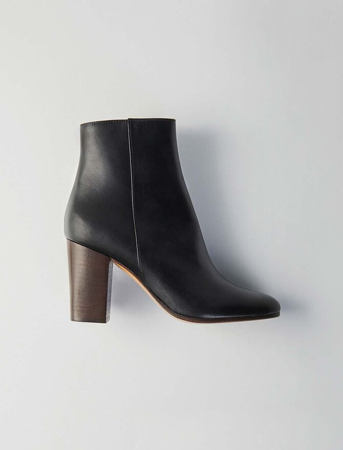 Heeled smooth leather booties - Présoldes-Accessoires-BE - MAJE