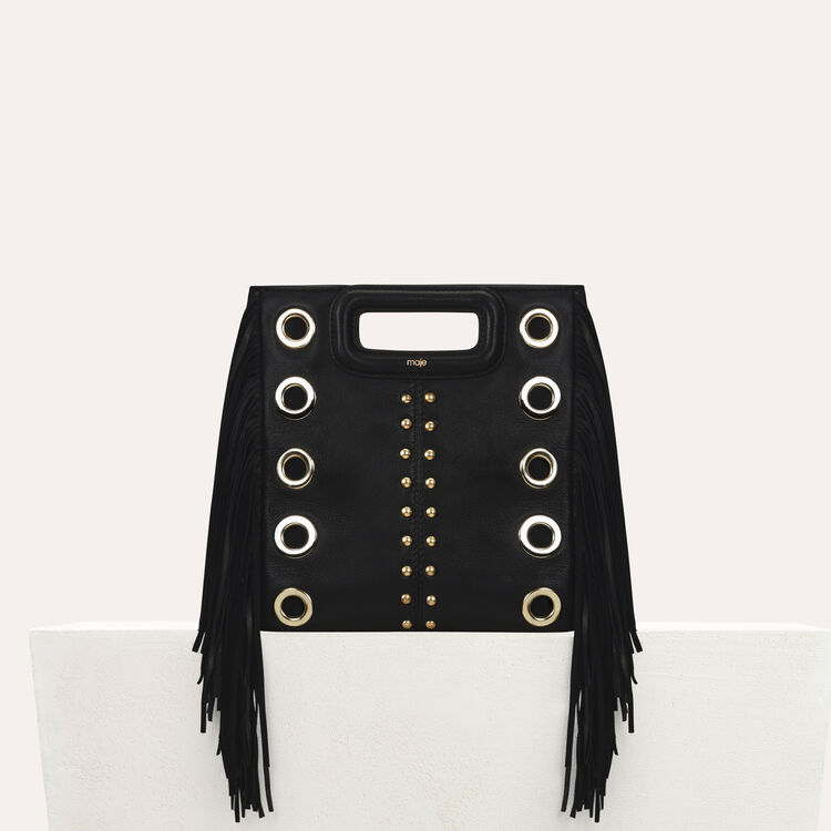 M bag in leather with studs and eyelets : M bag color Black 210