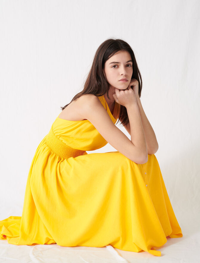 Sunny yellow smocked linen dress - Dresses - MAJE