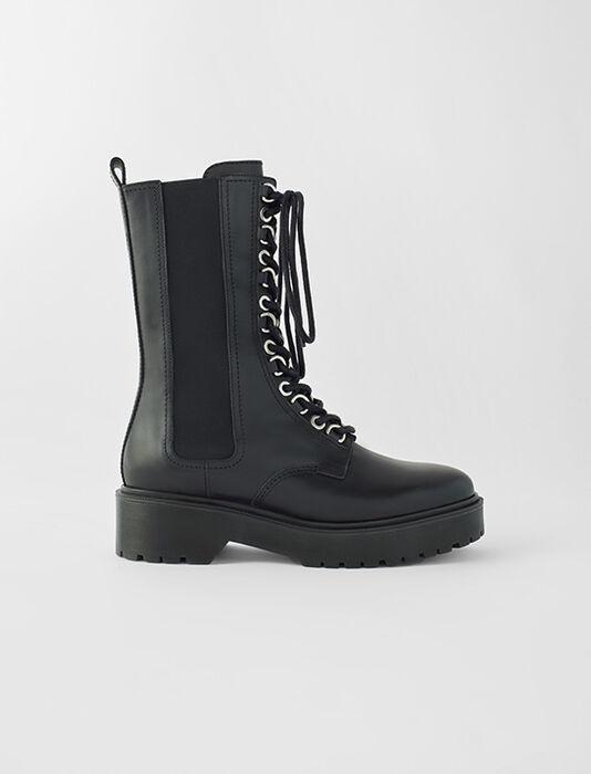 Black leather high-heeled boots : SoldesFR_Accessoires color Black