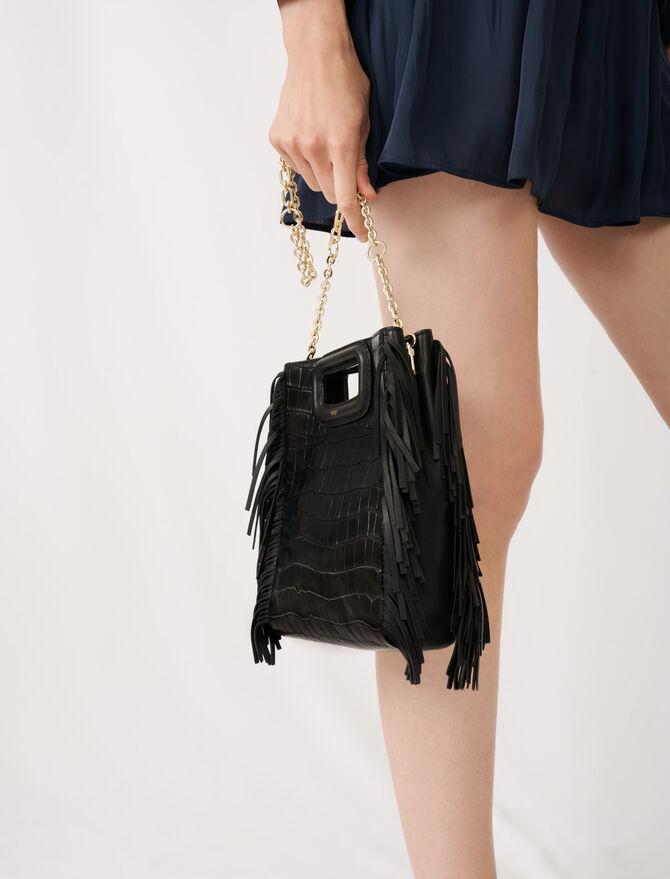 Crocodile embossed-leather M bag -  - MAJE