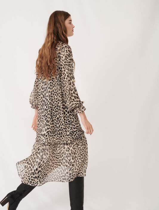Printed muslin dress with jewels : Eco-friendly color Natural leopard