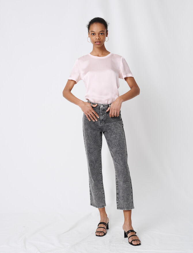 High-rise faded jeans -  - MAJE