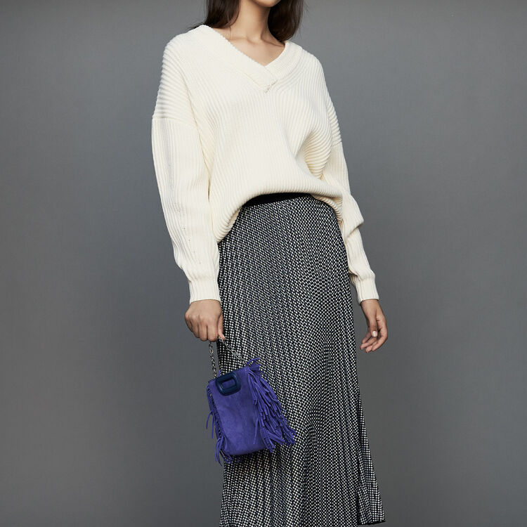 Pleated skirt in houndstooth : Skirts & Shorts color CARREAUX