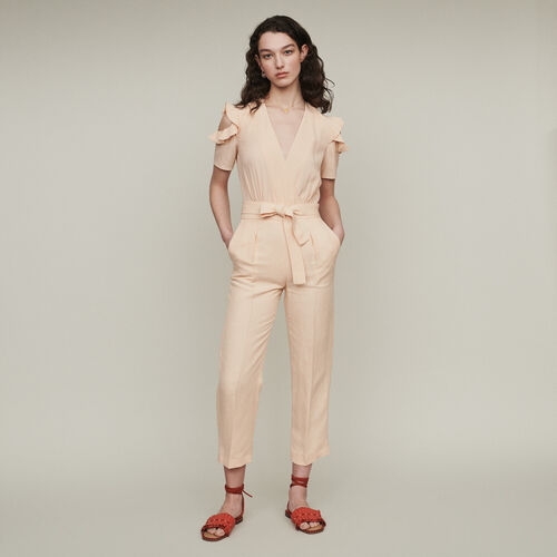 Bimaterial jumpsuit : Trousers color Mandarine