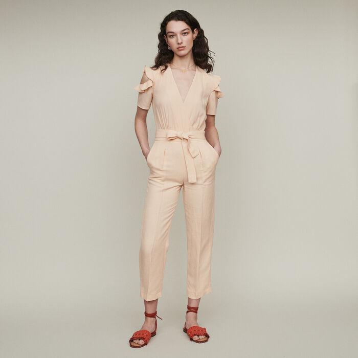 Bimaterial jumpsuit : Trousers & Jeans color Mandarine