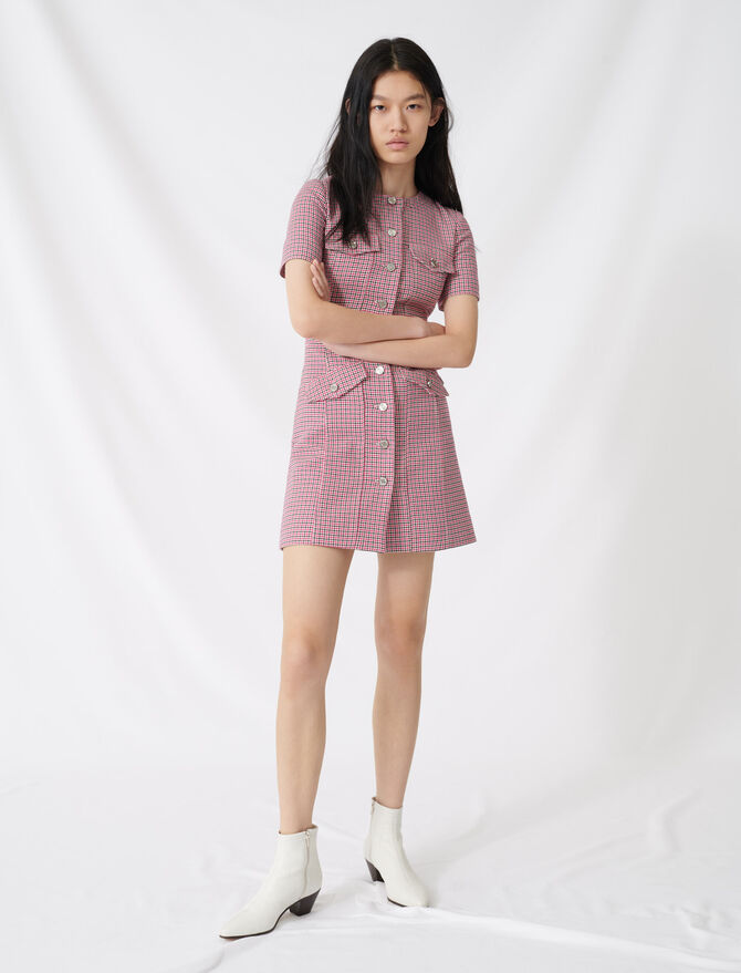 Fitted checked mini dress - Dresses - MAJE