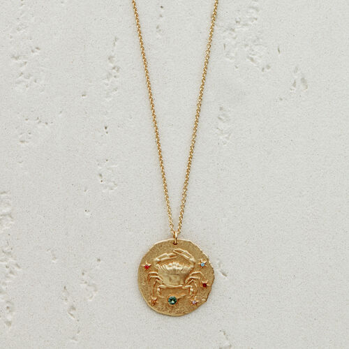 Cancer zodiac sign necklace : Jewelry color GOLD