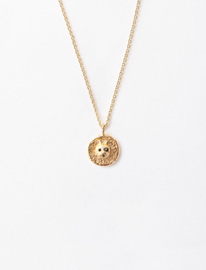 """""""Mon Chat"""" gold-plated necklace - Sentimental medals - MAJE"""
