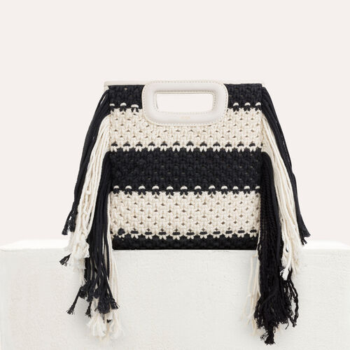 M bag in leather and bicolor knit : M bag color Black 210