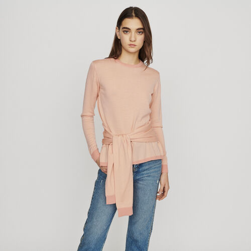 Thin sweater with tie : Pullovers & Cardigans color Coral