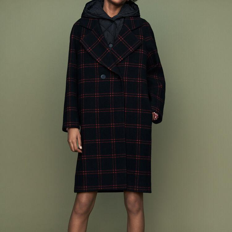 Plaid coat with removable down : Coats color CARREAUX
