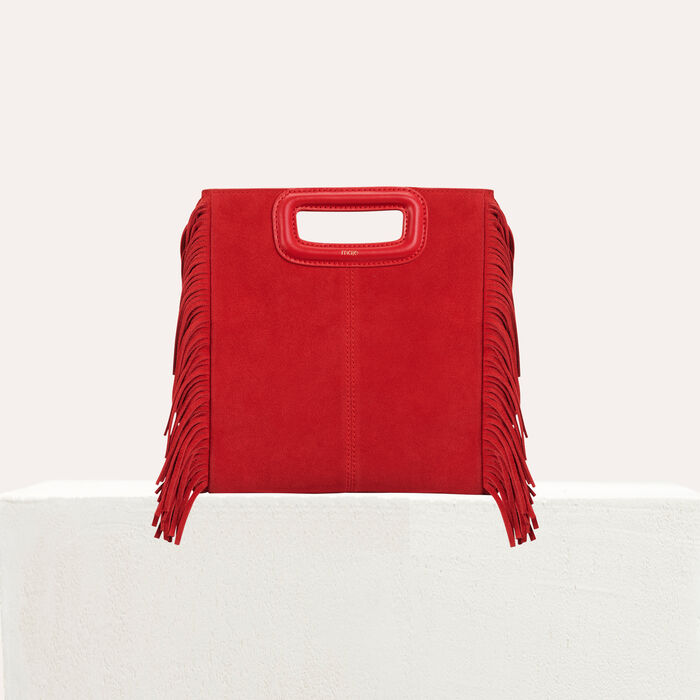 M bag in suede : M bag color Red