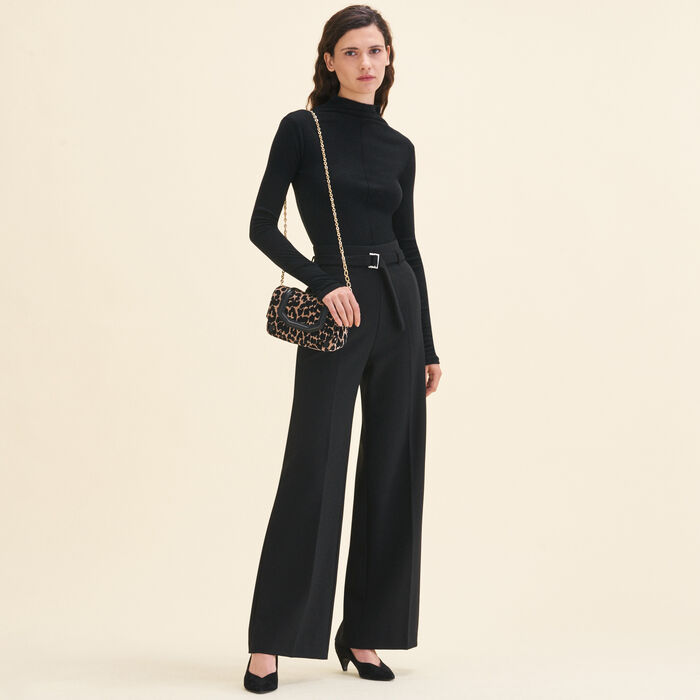 Wide high-waisted trousers : Trousers & Jeans color Black 210