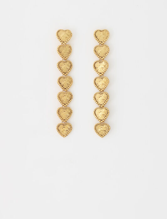 Heart drop earrings : Gifts Guide color Old brass