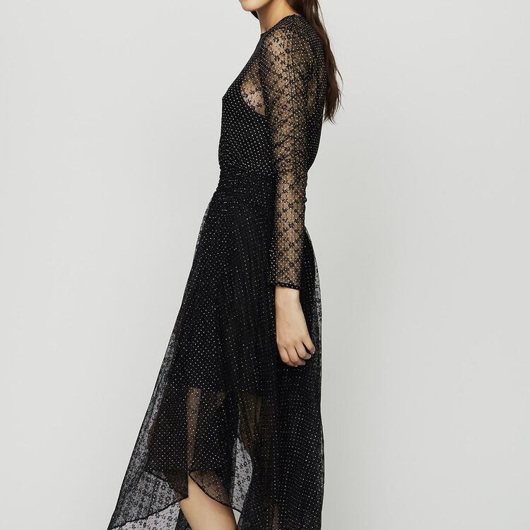 Dress in tulle with plumetis : Dresses color Black 210