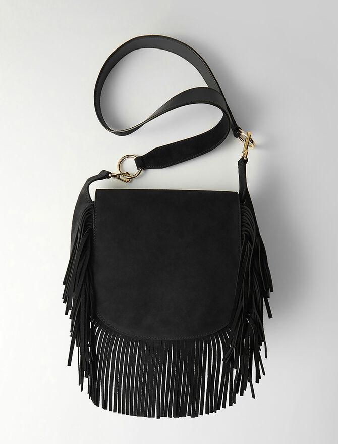 Leather and suede fringe Gyps GM handbag - Other M - MAJE