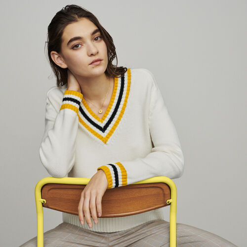 Sweater with contrasted bands : Knitwear color Ecru
