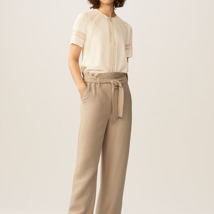 Wide-leg pants with removable belt : staff private sale color Beige
