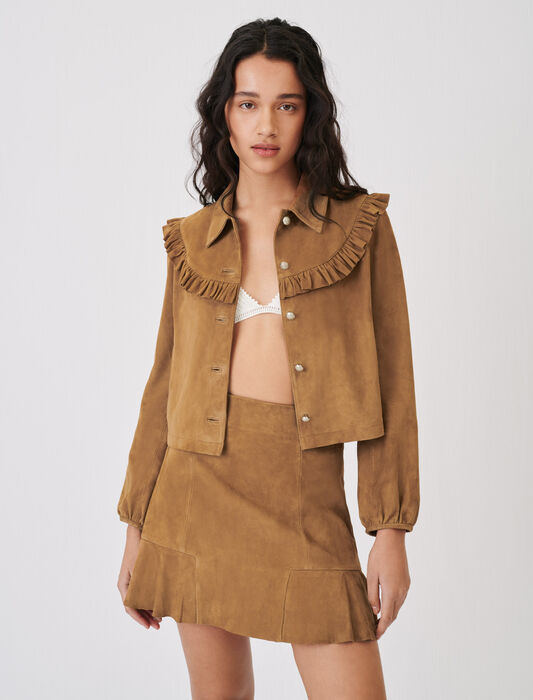 Suede jacket with ruffles : Coats & Jackets color Camel