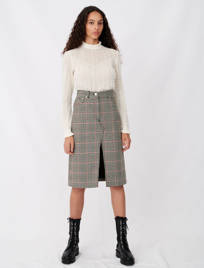 Midi checked skirt with slit - Skirts & Shorts - MAJE