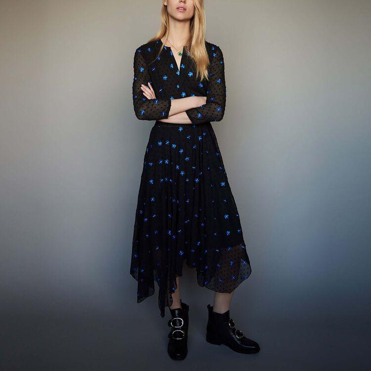 Embroidered chiffon dress : staff private sale color Black 210
