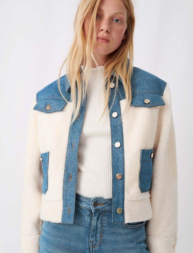 Denim and fur-effect jacket - Blazers - MAJE