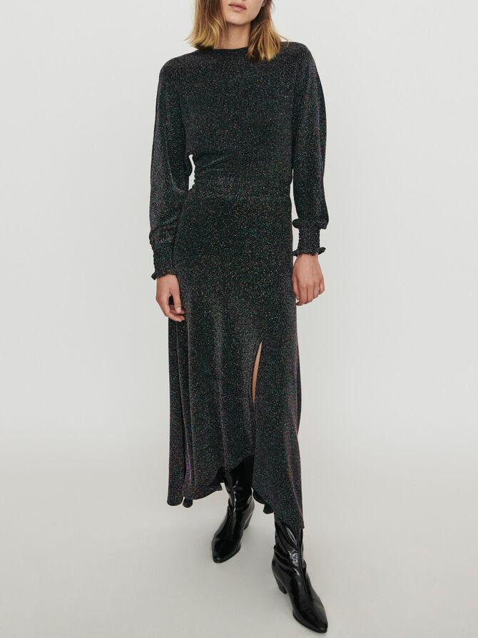Stretch scarf dress in Lurex - SoldesBE_Robes - MAJE