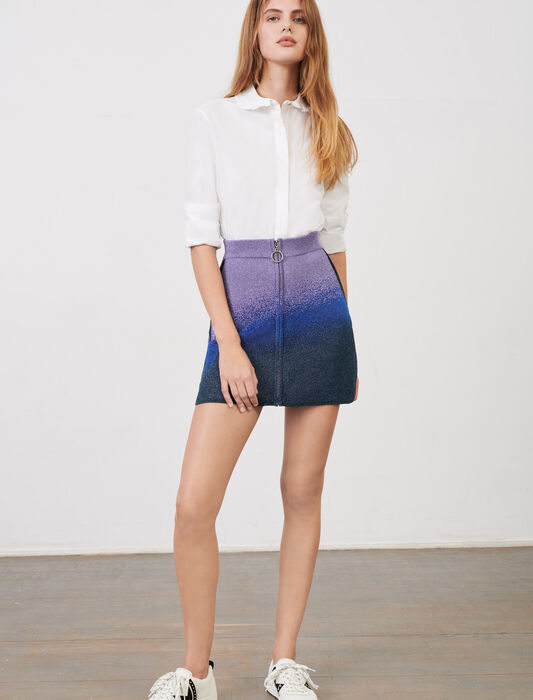 Lurex knit, straight-cut skirt with zip : Skirts & Shorts color Ocean