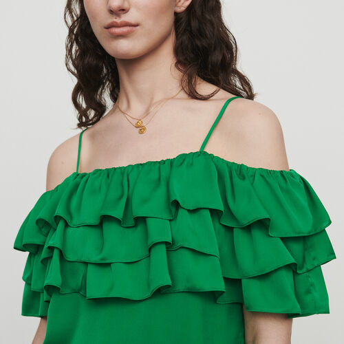 Strappy top with ruffles : Tops color Mandarine