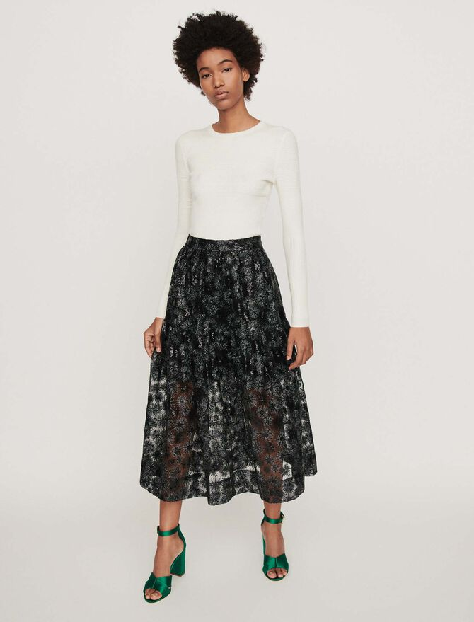 Sequin-embroidered tulle skirt -  - MAJE