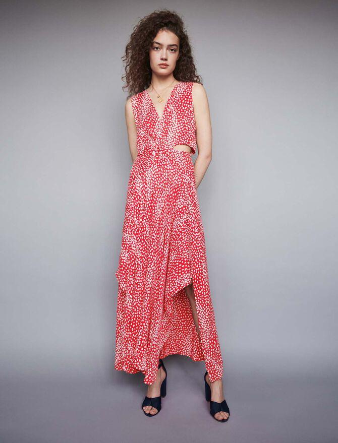 Jacquard-printed long knotted dress -  - MAJE
