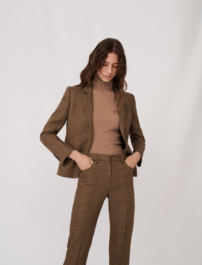 Checked fitted suit jacket - Blazers - MAJE
